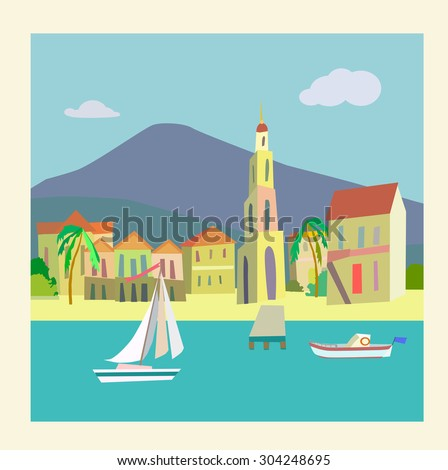 Panorama of the Gulf - illustration from vector's - stock vector