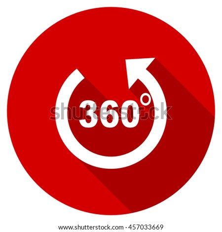 panorama red vector icon, circle flat design internet button, web and mobile app illustration