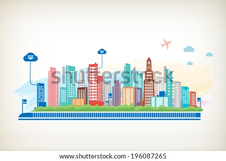 Panorama town. Cityscape and cloud