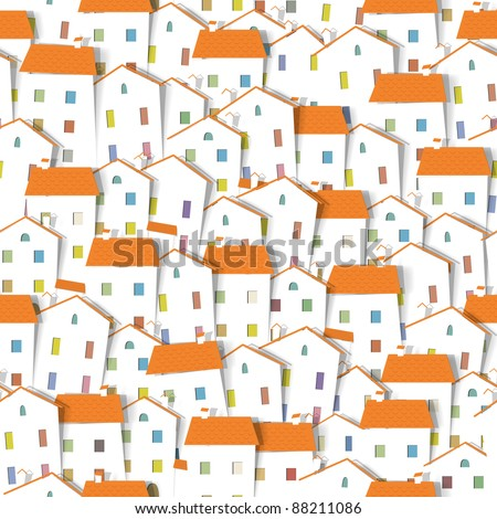 panorama town. seamless vector pattern. part 2 - stock vector