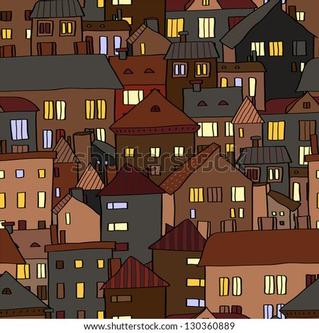 Panorama view old town at night in brown seamless pattern, vector - stock vector