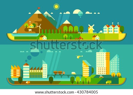 Panoramic landscape with ecology concept and concept pollution - stock vector