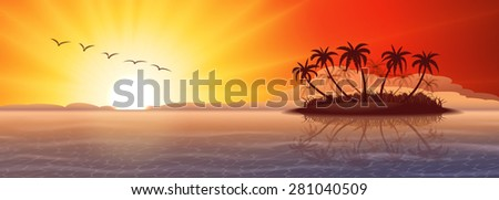 Panoramic nature background with tropical island at sunset - stock vector