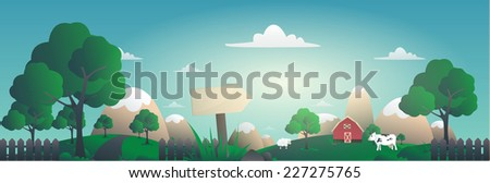panoramic vector illustration of lovely farm village - stock vector