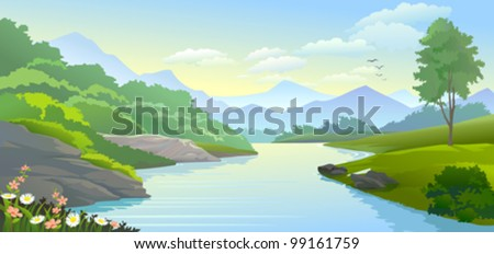PANORAMIC VIEW OF RIVER IN VALLEY - stock vector