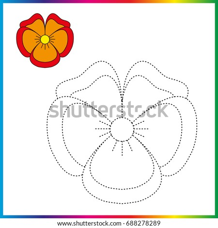 PANSIES FLOWERS Connect The Dots And Coloring Page Worksheet