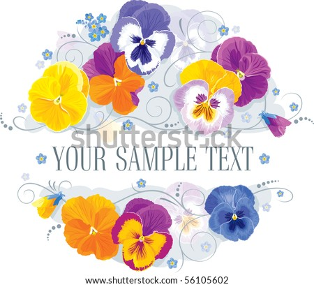 Pansy and forget-me in a romantic flower arrangement - stock vector