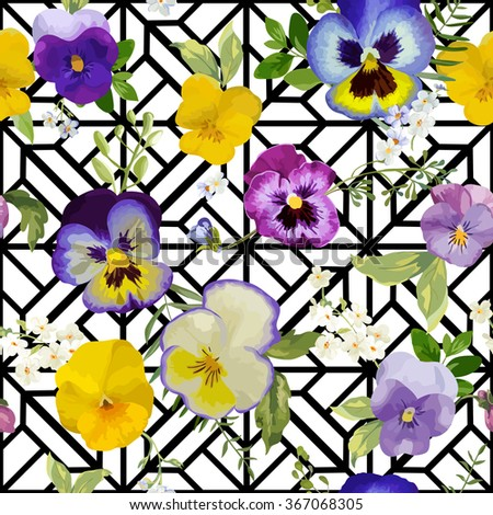 Pansy Flowers Background - Seamless Floral Shabby Chic Pattern - in vector - stock vector