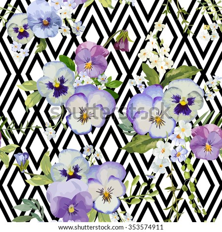 Pansy Flowers Geometric Background - Seamless Floral Shabby Chic Pattern - in vector - stock vector