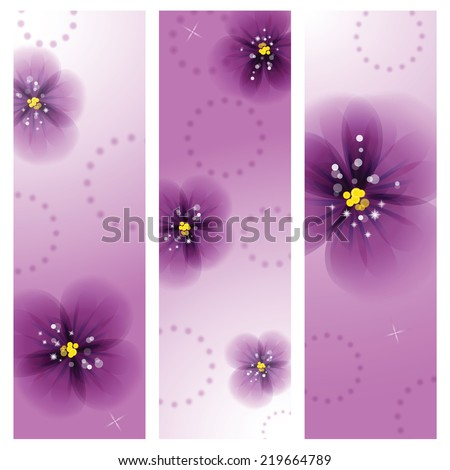 Pansy flowers on the greeting card. - stock vector