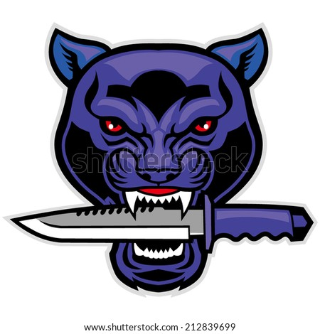 panther head bite a military blade - stock vector