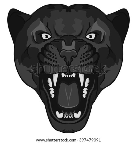 Panther Portrait. Angry Panther, wild cat head. Cute Panther face, Black Cat cartoon. Aggressive puma with bared teeth, cartoon style, Panther cat tattoo, Panther t-shirt print design, Panther icon - stock vector