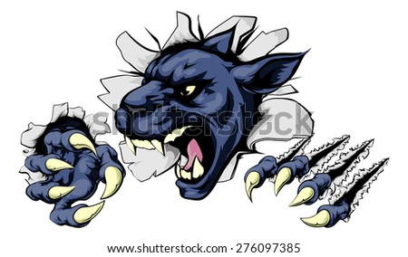 Panther sports mascot breakthrough concept of a panther sports mascot or character breaking out of the background or wall - stock vector