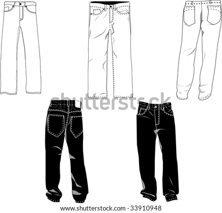Pants template/mockup for designs in vector format. Colors are easily modified, shadows can be hidden, each pant on a separate layer with a sublayer where you may place your own design. - stock vector