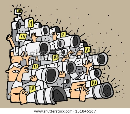 Paparazzi cartoon No.1. Illustration is in eps8 vector mode. - stock vector