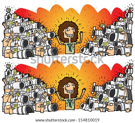 Paparazzi Differences Visual Game. Task: find 10 differences! Solution in hidden layer (vector file only). Illustration is in eps8 vector mode! - stock vector