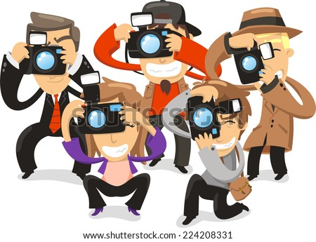 Paparazzi taking pictures photograph camera, vector illustration cartoon. - stock vector