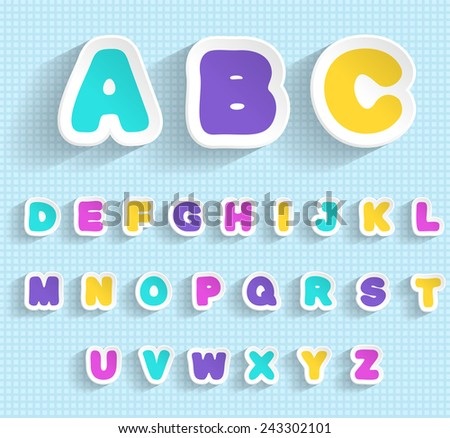 Paper ABC. Handmade font.  EPS 10. Transparent editable shadows. Smartly grouped and layered. - stock vector