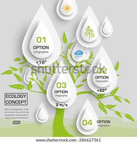 paper abstract drop data / eco concept infographics - stock vector