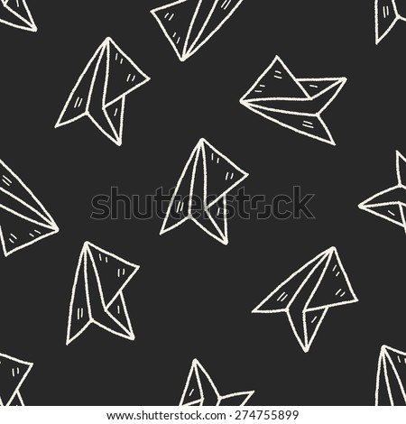 paper airplane doodle seamless pattern background - stock vector