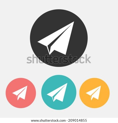 Paper airplane flat icons - stock vector