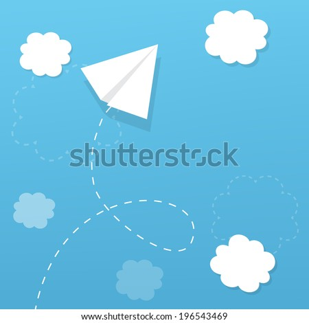 paper airplane flying in the clouds, and leaves a trail - stock vector