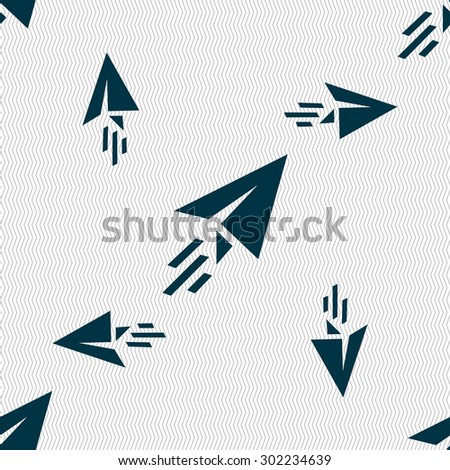 Paper airplane icon sign. Seamless pattern with geometric texture. Vector illustration - stock vector
