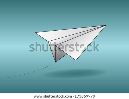 paper airplane on turquoise gradient background - stock vector