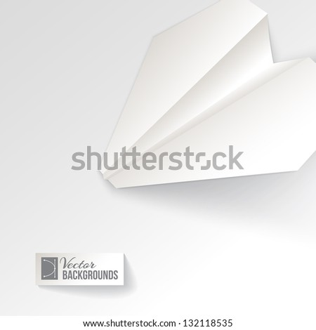 Paper airplane origami. Vector illustration, contains transparencies, gradients and effects. - stock vector