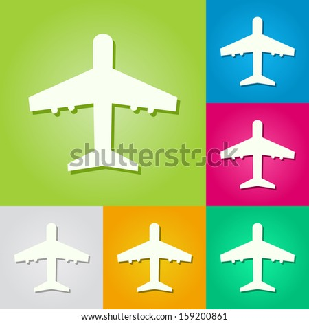 Paper Airplane Silhouette Set. Colorful Vector Background.