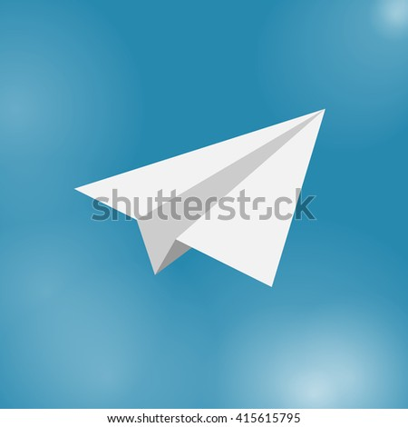 paper airplane web icon illustration for mobile apps flat design cute baby picture on blue background