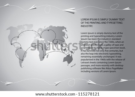 Paper airplanes fly over the world map. Blank text field included. Vector illustration. - stock vector