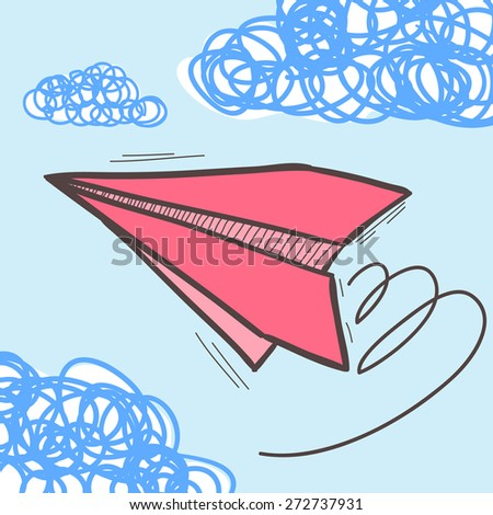 Paper airplanes on the sky with clouds. Doodle vector illustration - stock vector