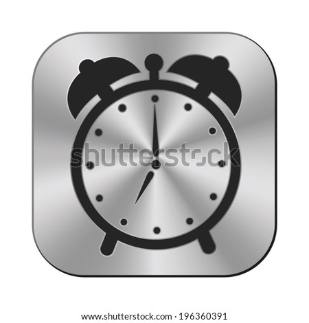 paper alarm clock icon - vector metal button - stock vector