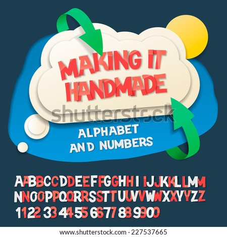 Paper alphabet letters and numbers with cloud object, vector illustration.  - stock vector