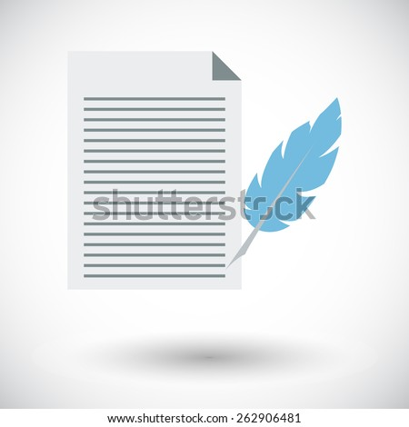 Paper and bird feather pen. Single flat icon on white background. Vector illustration. - stock vector