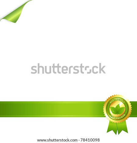 Paper And Eco Award Ribbon, Isolated On White Background, Vector Illustration - stock vector