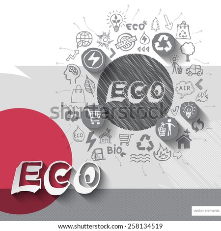 Paper and hand drawn eco emblem with icons background. Vector illustration - stock vector