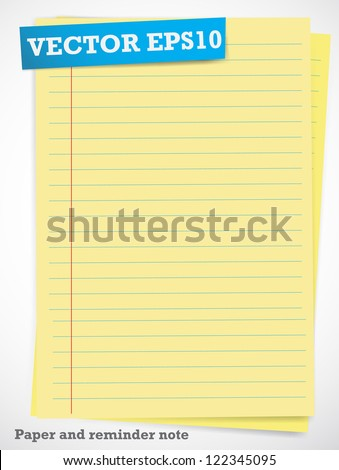Paper and reminder note.vector - stock vector