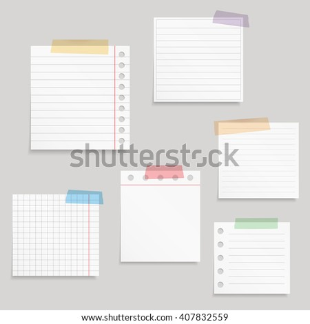 Paper and tape, blank white paper notes with colored tape, vector eps10 illustration - stock vector