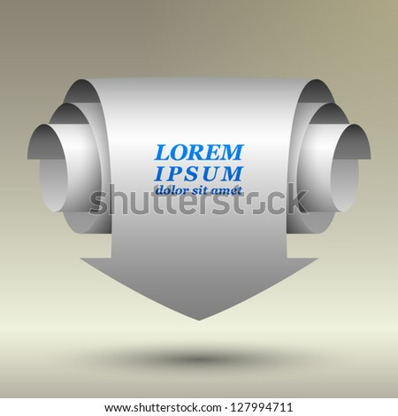 Paper arrow for sample text on a white background. Vector illustration. EPS 10 - stock vector