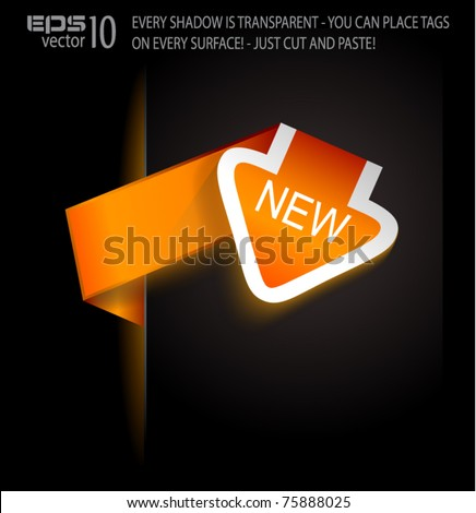Paper Arrow Style tags with TRANSPARENT shadow Lights. You can pleace it on every surface! - stock vector