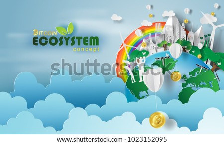 Paper art of bitcoin Ecosystem concept and earth with environment day.vector illustration