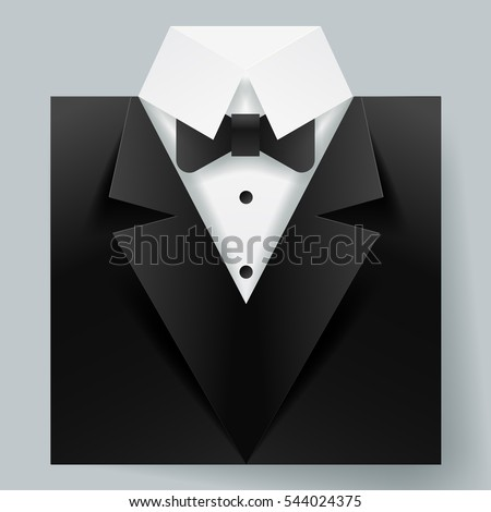 Paper art of tuxedo icon for male fashion and fathers day, vector art and illustration.
