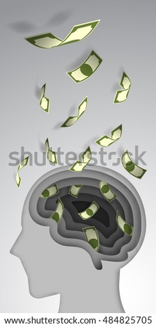 Paper art style brain layer cut with banknote flow vector illustration