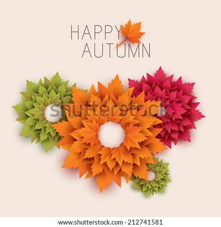 paper autumn leaves abstract background - vector - stock vector