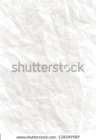 Paper background - vector white crumpled texture - stock vector