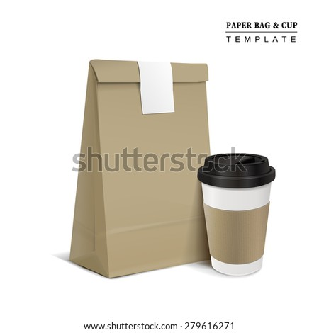 paper bag and coffee cup isolated on white background - stock vector