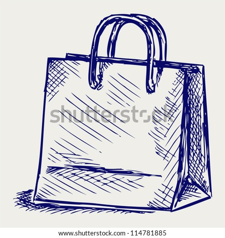 Paper bag. Doodle style - stock vector