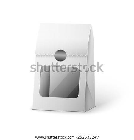 Paper Bag Package Of Coffee, Salt, Sugar, Pepper, Spices Or Flour, Filled, Folded, Close, White. Ready For Your Design. Snack Product Packing Vector EPS10 - stock vector
